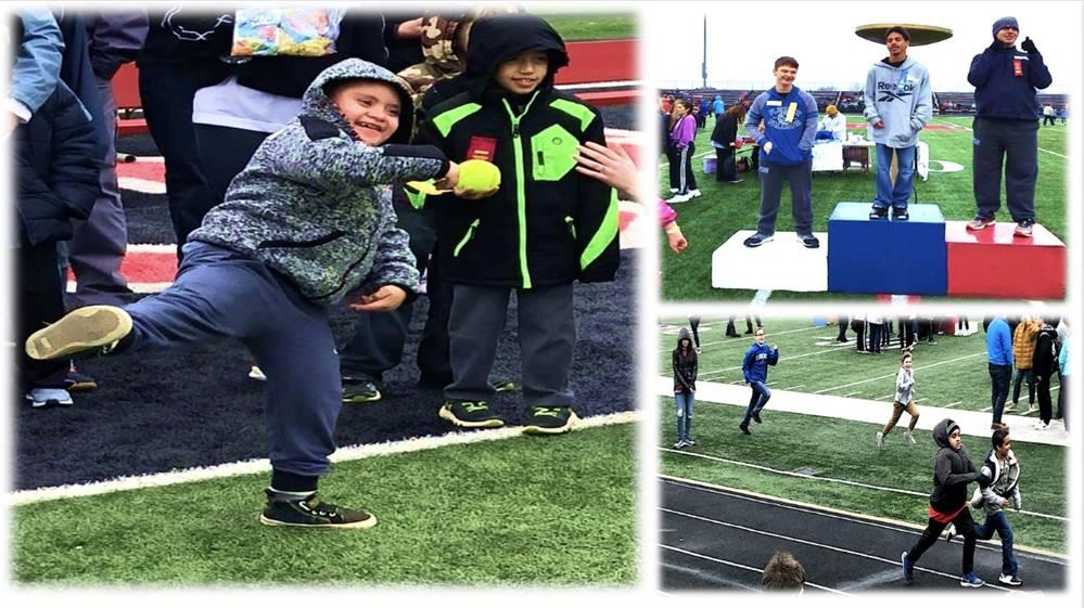Students competing in the special olympics.
